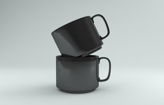 Zwei schwarze realistische tassen mockup 3d gerendert