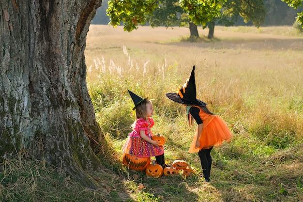 Zwei schwestern in karnevalskleidern von hexen in der nähe eines riesigen baumes an halloween