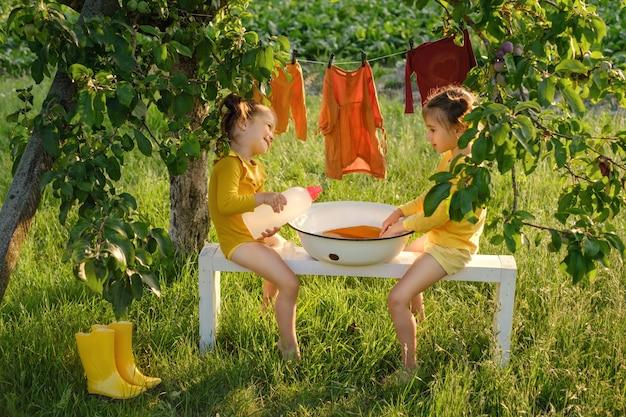 Zwei schwestern waschen wäsche in einem becken im garten mit flüssigwaschmittel aus einer flasche