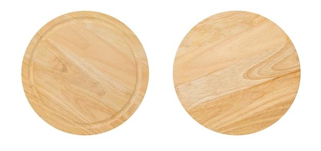 Zwei seiten des runden hölzernen schneidebrettes für pizza lokalisiert auf weißem hintergrund. modell für lebensmittelprojekt.