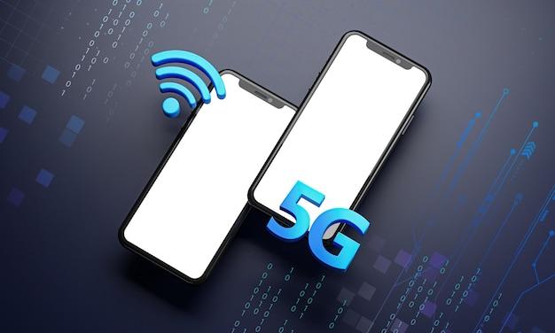Zwei smartphone 5g icon hologramm. technologiekonzept 3d-rendering