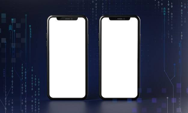 Zwei smartphones mit leerem bildschirm. technologiekonzept 3d-rendering