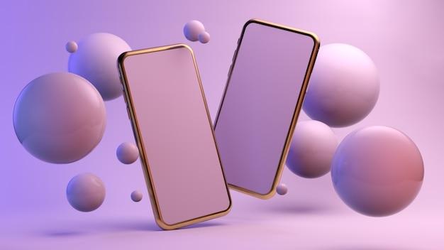 Zwei smartphones schweben umgeben von kugeln