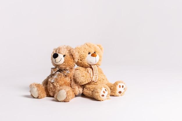 Zwei spielzeugbären, die auf weiß sitzen