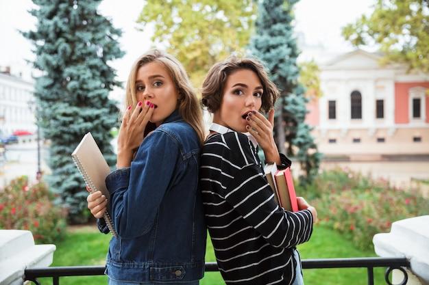 Zwei überraschte junge teenager mit büchern