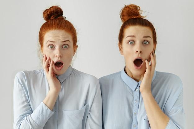 Zwei verängstigte kaukasische studentinnen mit den gleichen haarknoten, die ähnliche formelle hemden tragen, die vor den prüfungen am college vor schock und schrecken schreien, die brauen heben und die hände auf den gesichtern halten