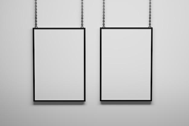 Zwei vertikale a4-rahmen, die an metallketten hängen. 3d-darstellung.