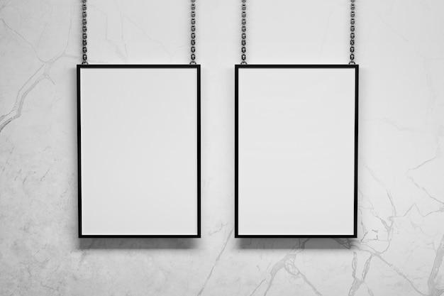Zwei vertikale a4-rahmen hängen an metallketten neben der wand. 3d-darstellung.
