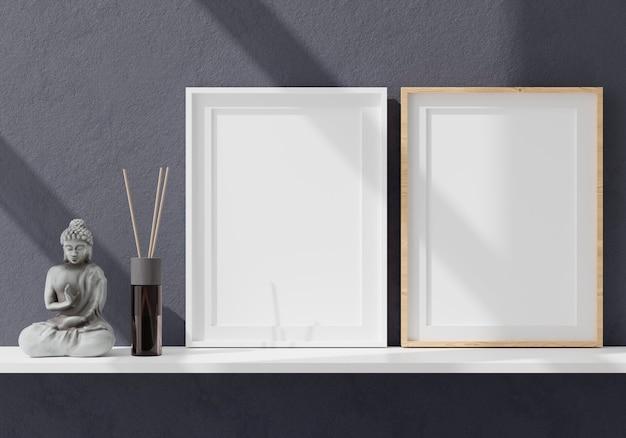 Zwei vertikale weiße rahmen