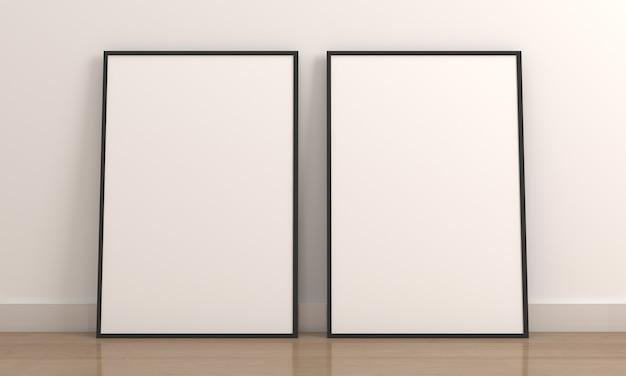 Zwei vertikales leeres fotorahmenmodell auf holzboden