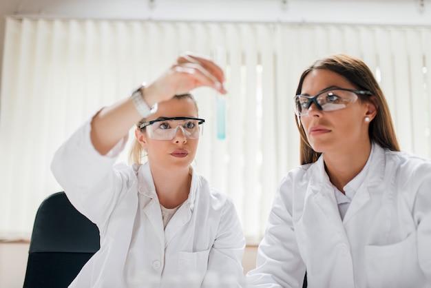 Zwei weibliche forscher im schützenden eyewear, der reagenzglas betrachtet.