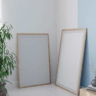 Zwei weiße leinwand auf dem boden