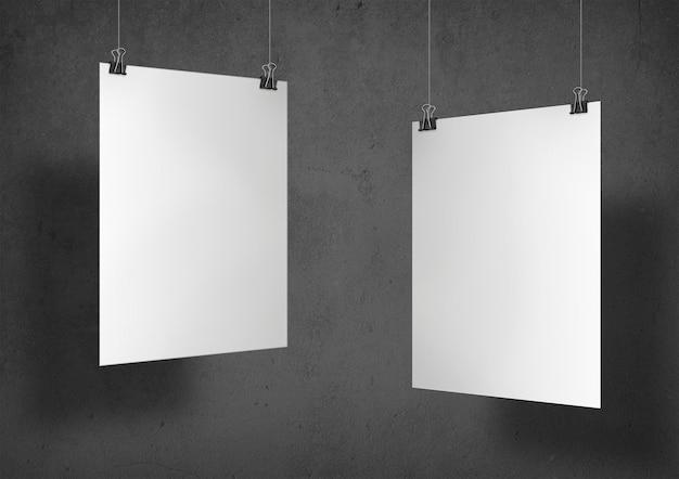 Zwei weiße plakate