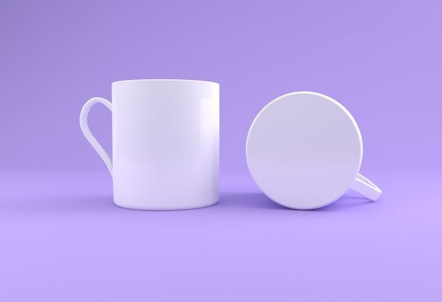 Zwei weiße realistische tassen modell 3d gerendert
