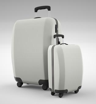 Zwei weiße reisetaschen isoliert auf hell. 3d-rendering