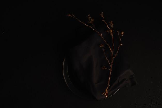 Zweig auf tuch und teller