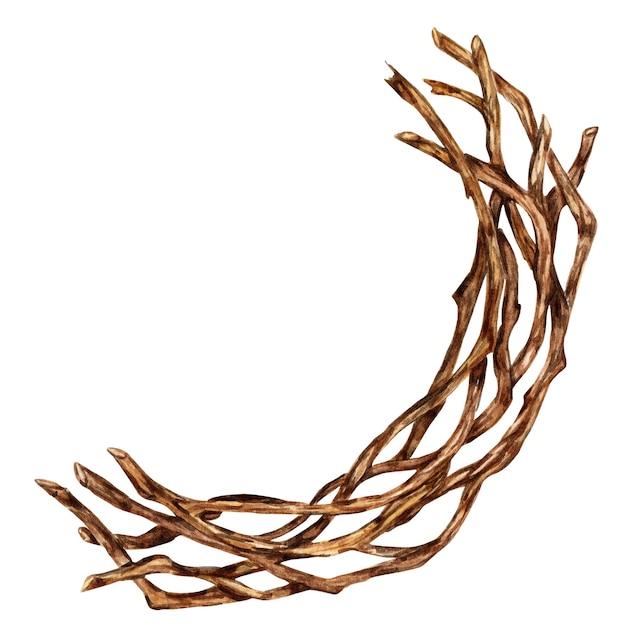 Zweige in einem kranz für weihnachts- und neujahrsdekor gebunden aquarellillustration eines fragments