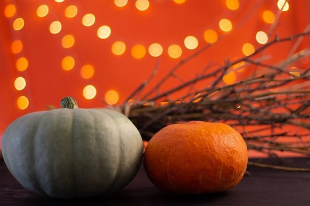 Zweige und kürbisse auf orangefarbenem hintergrund mit bokeh. halloween. platz kopieren.
