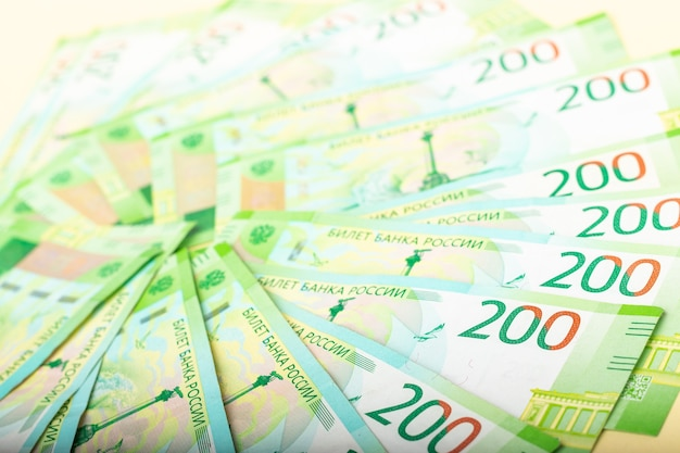 Zweihundert banknoten. russische rubel