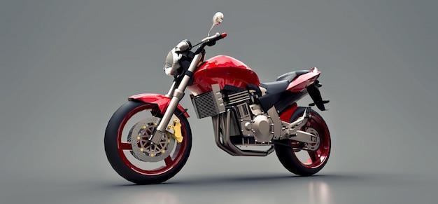 Zweisitzer-motorrad des roten städtischen sports auf einem grauen hintergrund. abbildung 3d.