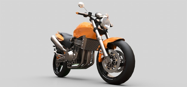Zweisitziges orangefarbenes städtisches sportmotorrad auf einer grauen oberfläche Premium Fotos