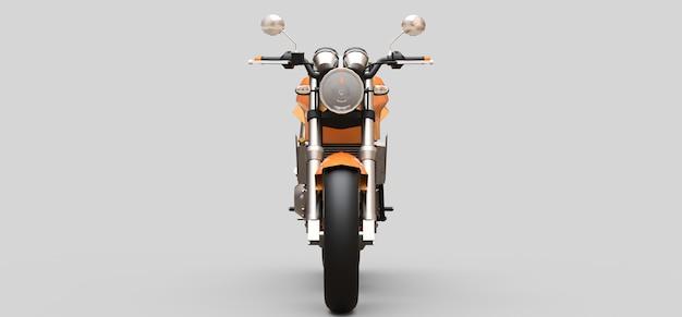 Zweisitziges orangefarbenes städtisches sportmotorrad auf einer grauen oberfläche