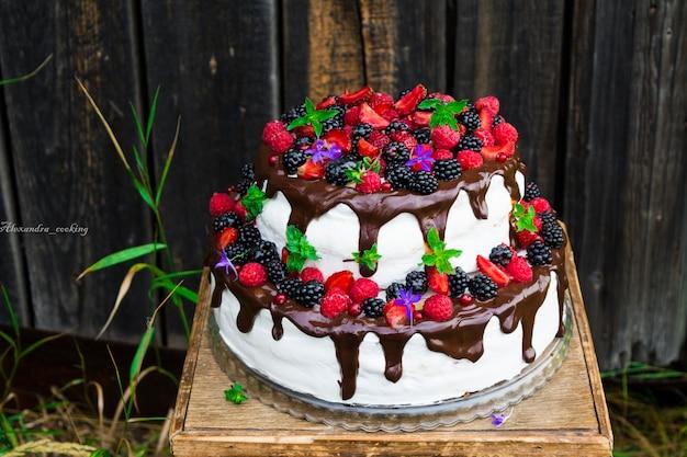 Zweistöckiger kuchen mit früchten und blumen. trendy hochzeitstorte. rustikaler kuchen. hochzeitskonzept