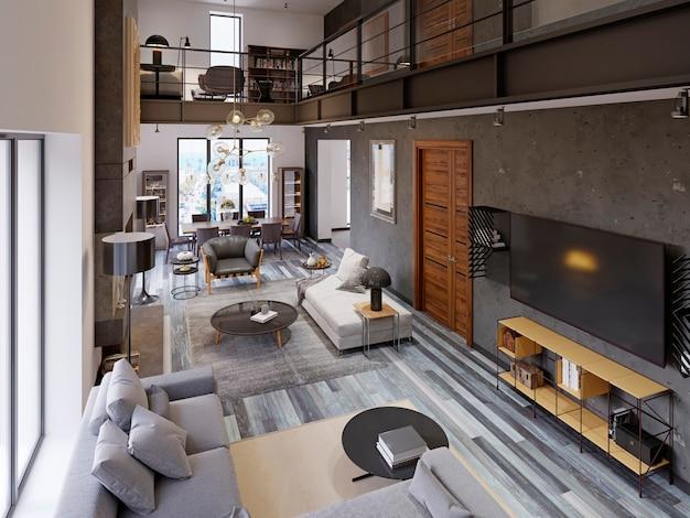 Zweistöckiges wohnzimmer-apartment mit ess- und tv-bereich und großem kamin im loft-stil. 3d-rendering.