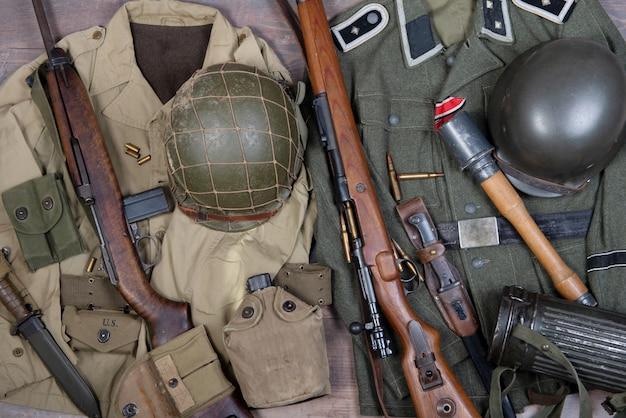 Zweite weltkrieg militärische amerikanische und deutsche ausrüstung
