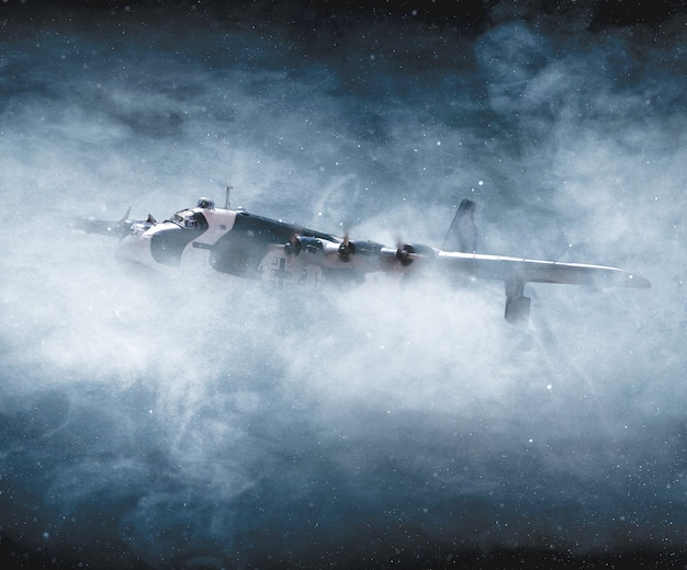 Zweiter weltkrieg und flugzeugbombardierung im flug
