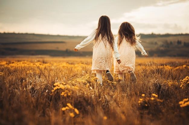 Zwillinge und beste freunde, die die sommersonne genießen