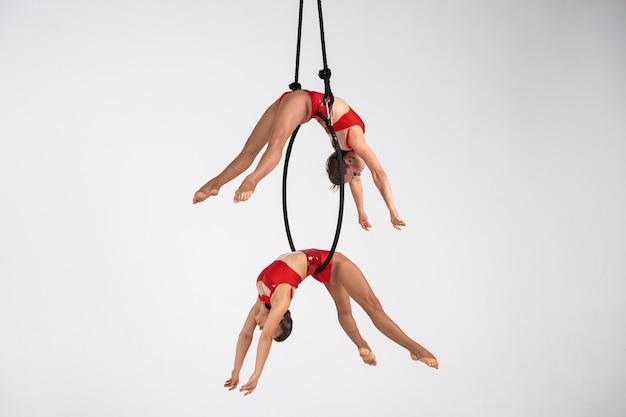 Zwillinge weibliche zirkusartistin auf dem aerial hoop isoliert auf weiss. sehr flexible und professionelle turner.