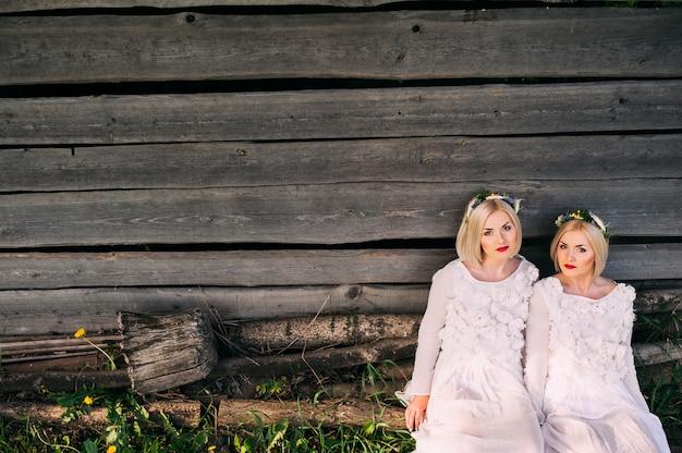 Zwillingsschwestern, die an einer hölzernen wand sitzen