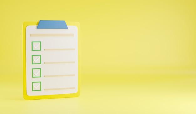 Zwischenablage checkliste umfrage papierliste häkchen bericht dokument 3d-rendering illustration