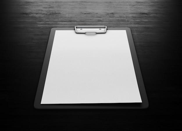 Zwischenablage mit einem leeren blatt papier