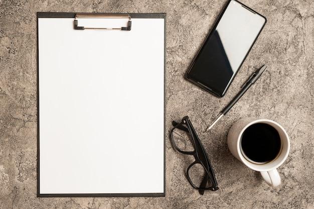 Zwischenablage vorlage mit business-elementen