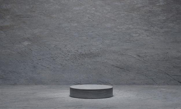 Zylinderbetonsockel auf grauem zement