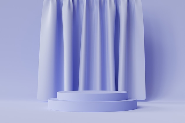 Zylinderförmiges podium oder sockel für produkte auf neutralem blauem hintergrund mit vorhängen, minimaler 3d-illustrationsrender