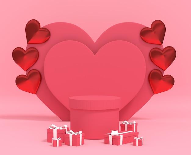 Zylinderpodest für produkt valentinstag mit ballon geschenkbox. 3d-rendering premium-foto