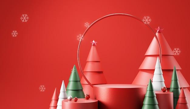 Zylinderpodest mit dekoration für weihnachten