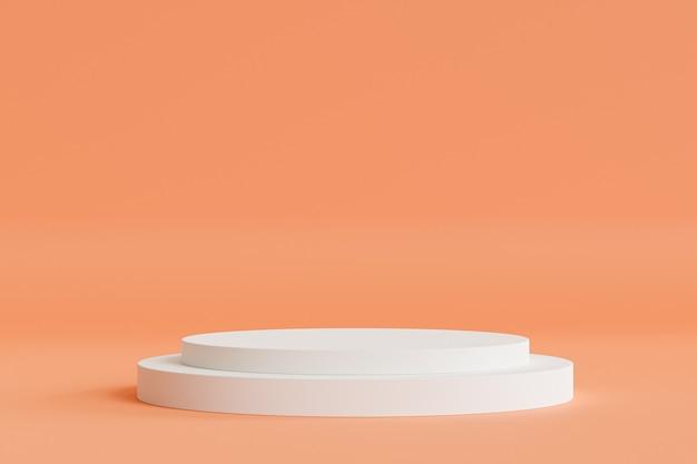 Zylinderpodest oder -sockel für produkte oder werbung auf beigem pfirsichhintergrund, minimaler 3d-illustrationsrender