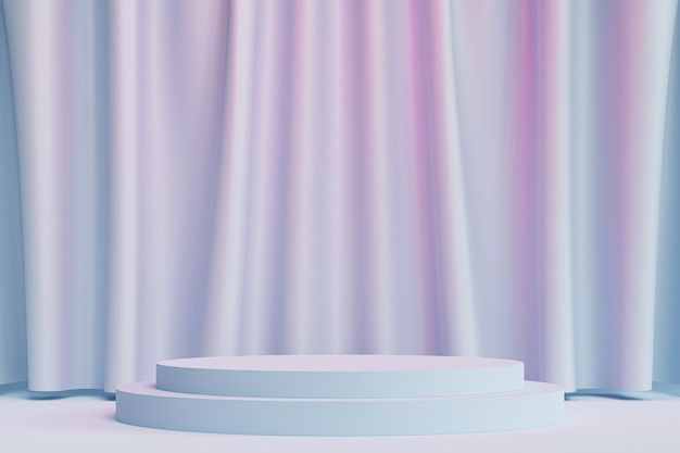 Zylinderpodest oder -sockel für produkte oder werbung auf neutralem blauem und rosa hintergrund mit vorhängen, minimaler 3d-illustrationsrender