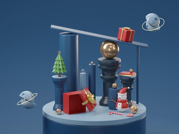 Zylinderpodest und minimaler abstrakter hintergrund für weihnachten, geometrische form der 3d-wiedergabe, bühne für produkt.