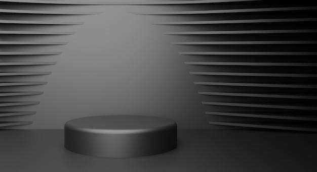 Zylinderpodeste in schwarzem hintergrund szene, um kosmetikprodukt-schaukasten zu zeigen