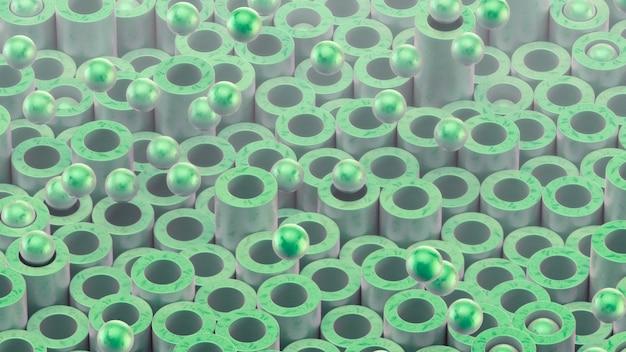 Zylinderrohre und kugeln. schöne grüne farbe und oberflächenbeschaffenheit.
