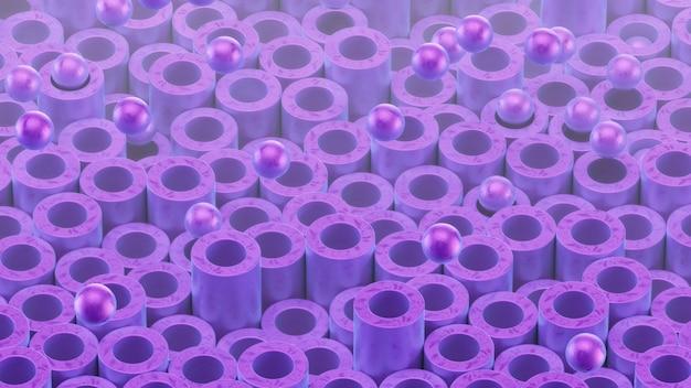 Zylinderrohre und kugeln. schöne pueole farbe und oberflächenstruktur.