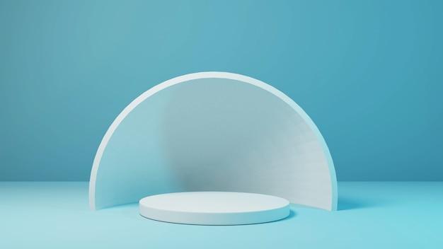 Zylinderstufenmodell für produkt mit weichem blauem hintergrund 3d-rendering