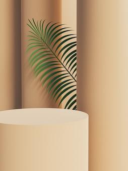 Zylindrischer produktständer mit hinteren säulen und palmblatt, die von hinten herausschauen. 3d-rendering