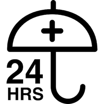 24 hours protection sign with an umbrella