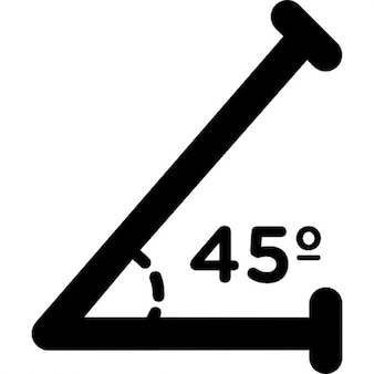 Acute angle of 45 degrees